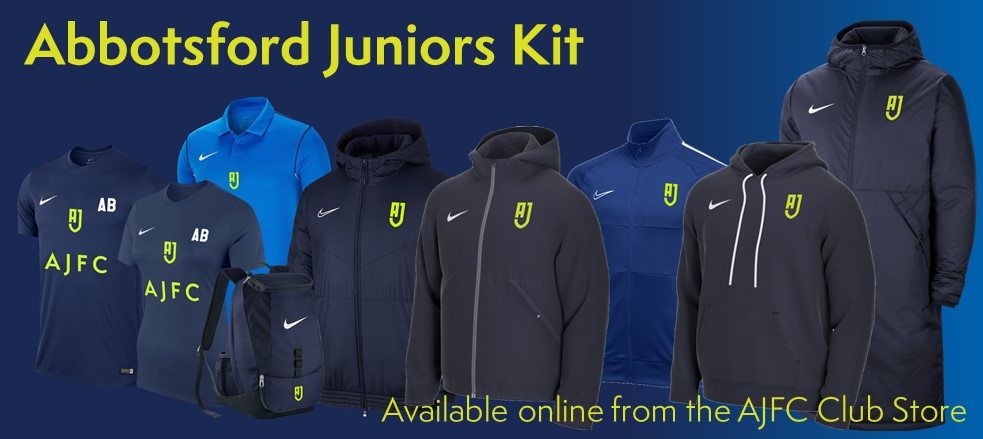 New AJFC Merchandise now available from the Ultra Football Abbotsford Juniors Store