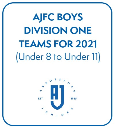 AJFC Boys Division One Teams for 2021 - Under 8 to Under 11