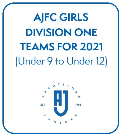 AJFC Girls Division One Teams for 2021 - Under 9 to Under 12