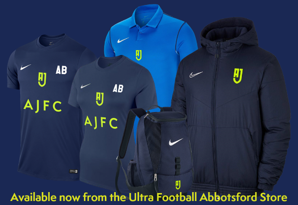 AJFC Merchandise now available from the Ultra Football Abbotsford Juniors Store