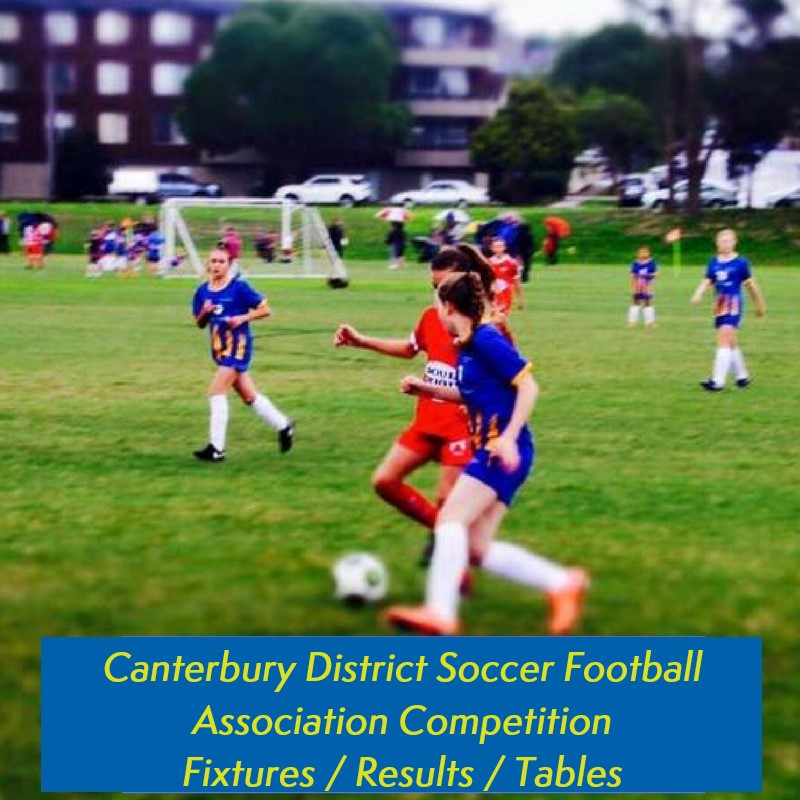 Canterbury District Soccer Football Club Competition Fixtures, Results and Tables
