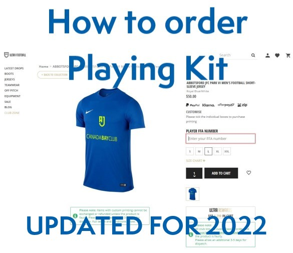 AJFC - How to order your Playing Kit