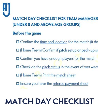 Team Manager Match Day Checklist