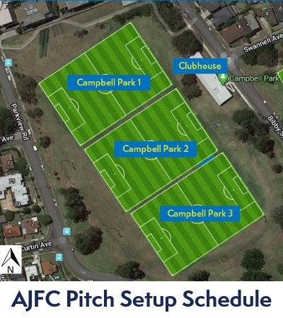 AJFC Pitch Setup Schedule